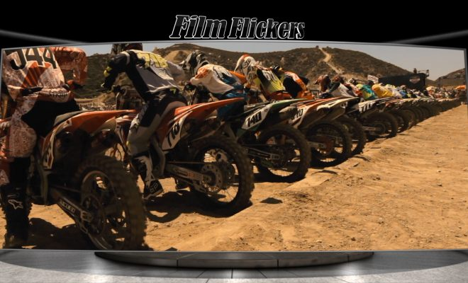 Image of motocross bikes in a line