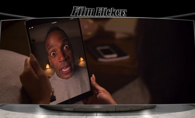 Image of actor Marlon Wayne on FaceTime iPad with wife