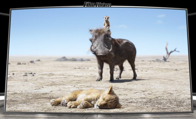 Image of Timon & Pumbaa looking at little Simba passed out on the ground