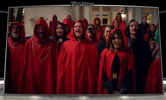 Image of satanic cult in red robes