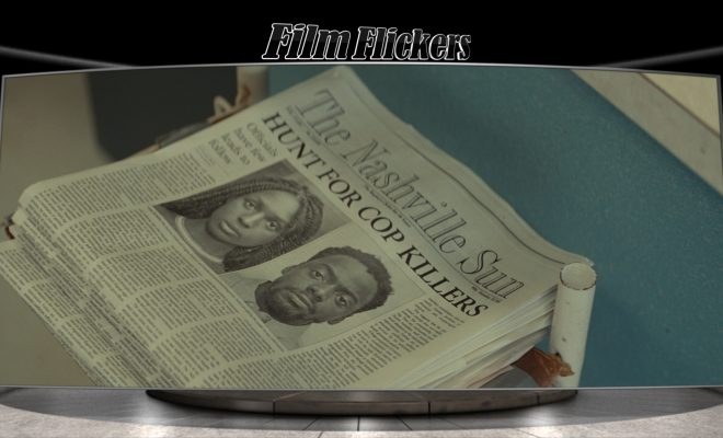 Image of newspaper focused on a drawing for two wanted people, queen and slim