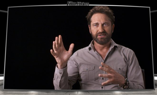 Image of Gerard Butler getting interviewed