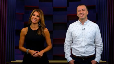 Image of Kimberly and Esteban on set