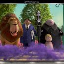 Image of the Addams family on sidewalk with lion looking towards camera