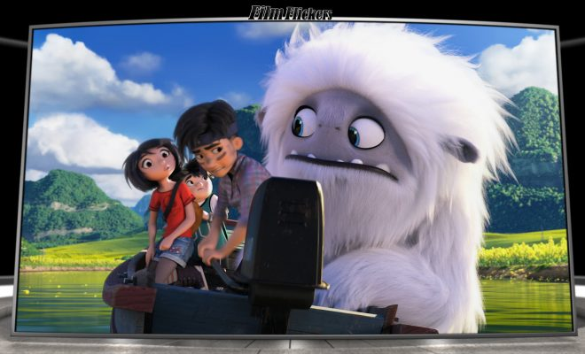 Image of the cartoon yeti looking at the kids about the boat not working