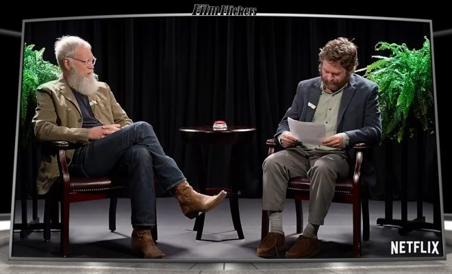 Image of Larry King and Zach Galifinakis sitting between two ferns
