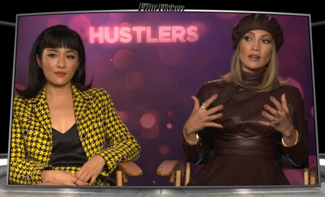 Image of Jennifer Lopez and Constance Wu getting interviewed about Hustlers
