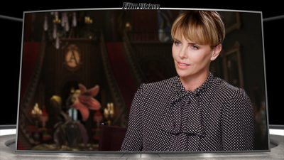 Image of Charlize Theron talking about the movie The Addams family