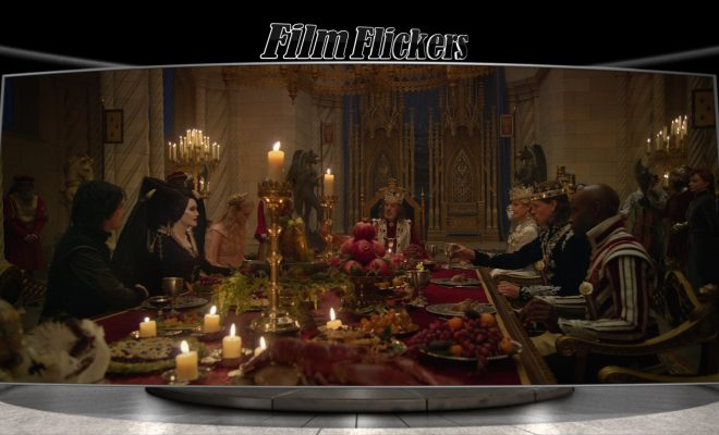 Image of a dinner scene from Maleficent: Mistress of Evil