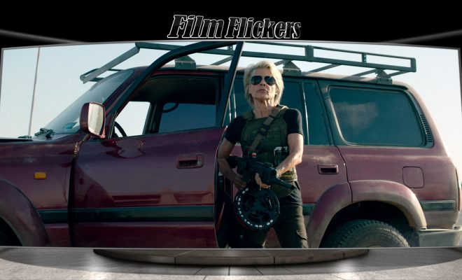 Image of Sarah Connor shooting with big gun