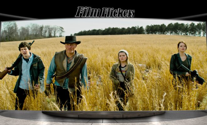 Image of the four amigos in the grass from Zombieland: Double tap