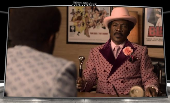 Image of Eddie Murphy as character Dolemite in pimp clothes