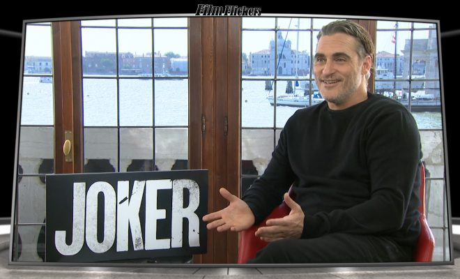 Image of Joaquin Phoenix talking about the movie Joker