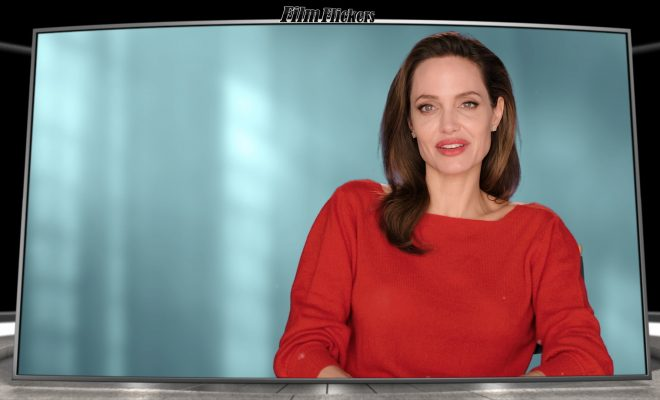 Image of Angelina Jolie talking about Maleficent: Mistress of Evil movie