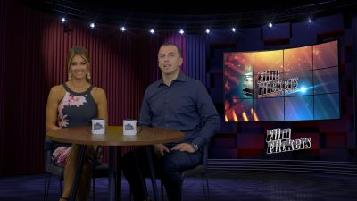 Image of Kimberly and Esteban sitting on set