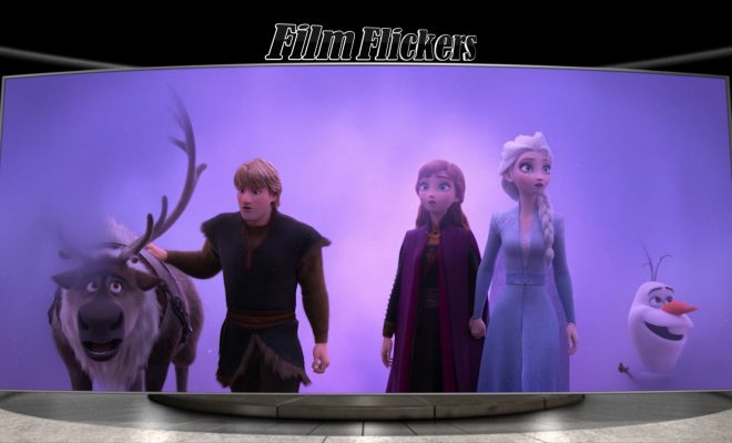 Image of Sven, Kristoff, Anna, Elsa and Olaf in a snow fog