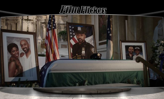 Image of a funeral ceremony in a church of a fallen cop