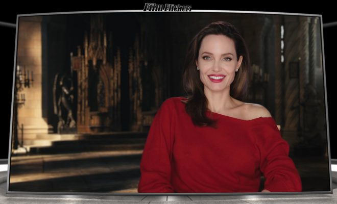 Image of Angelina Jolie talking about Maleficent 2