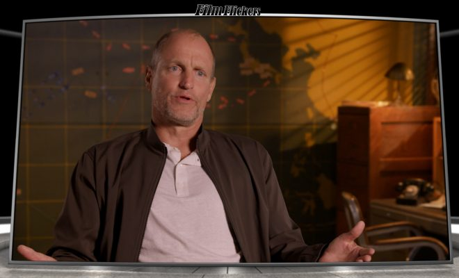Image of Woody Harrelson talking about Midway