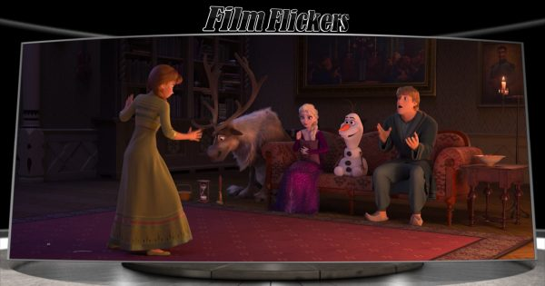 Image of Anna playing charades with Sven, Elsa, Olaf and Kristoff