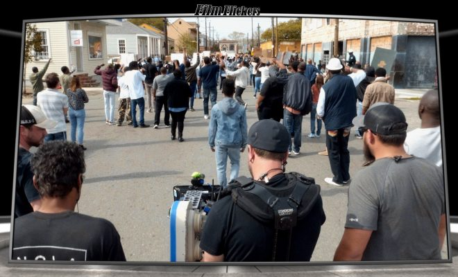 Image of behind the scenes look at Queen & Slim during a crowd march