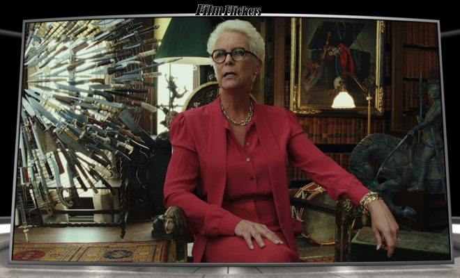 Image of Jamie Lee Curtis in Knives Out sitting on a chair