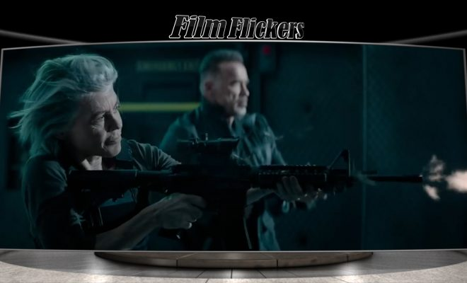 Image of Sarah Connor and good terminator shooting at the enemy
