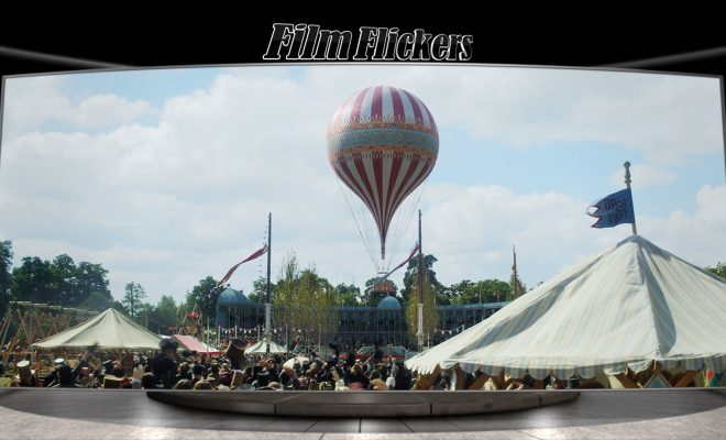 Image of an air balloon floating up into the sky in The Aeronauts