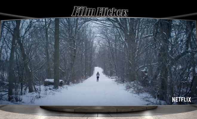 "Image of a snowy walk path in the woods from ""Let It Snow"""