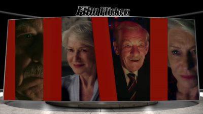Image of four different scenes with Helen Mirren and Ian McKellen