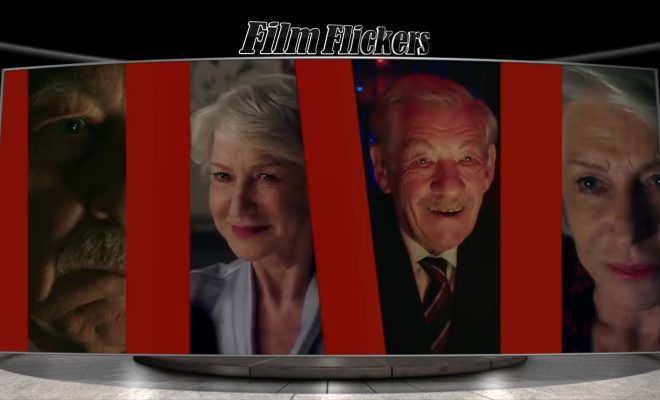 Image of four different scenes with Helen Mirren and Ian McKellen