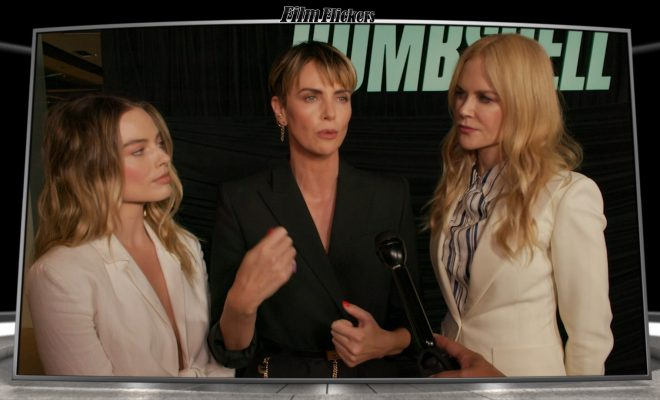 Image of an interview with Margot Robbie, Charliez Theron and Nicole Kidman