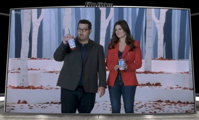 "Image of Josh Gad and Idina Manzel doing a trivia about their movie ""Frozen"""