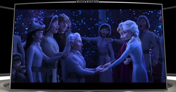 Image of Anna and Elsa meeting the hidden tribe folks from Frozen II