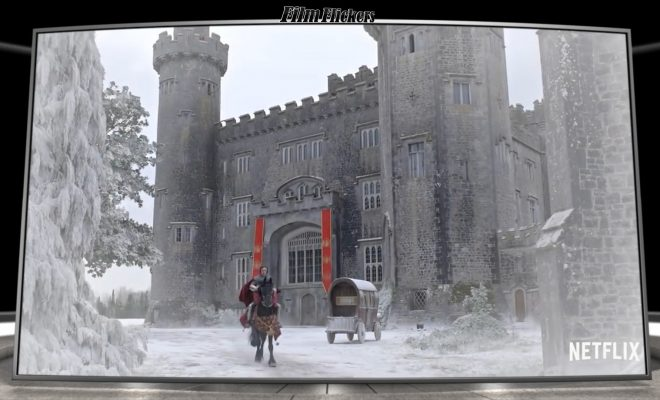 "Image of the knight riding on his horse away from the castle in ""The Knight Before Christmas"""