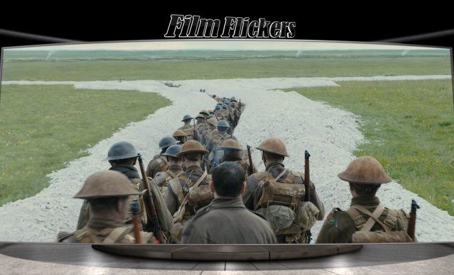 "Image of soldiers walking along a trail in ""1917"" film"