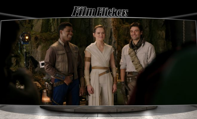 "Image of Rey, Fin and Poe standing together during ""Star Wars: Rise of Skywalker"" filming behind the scenes"