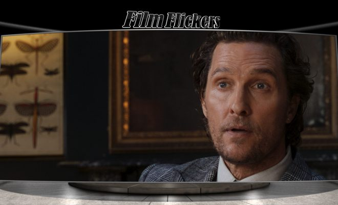 "Image of Matthew McConaughey looking at someone in ""The Gentlemen"" film"
