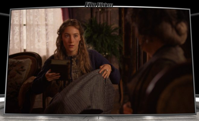 "Image of Saoirse Ronan sitting in chair in ""Little Women"" movie"