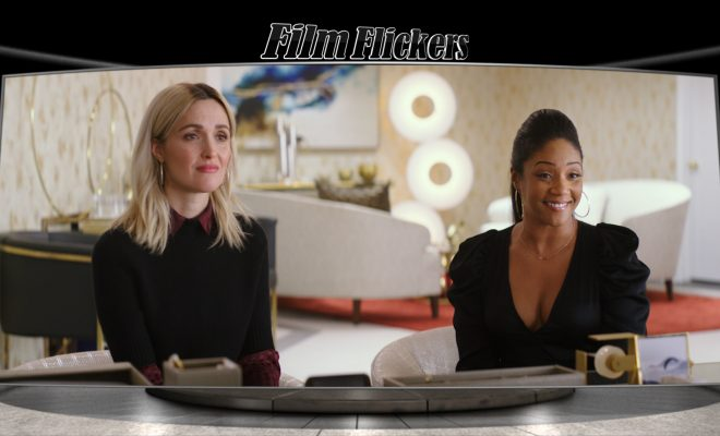 "Image of Tiffany Haddish and Rose Byrne sitting in an office from ""Like A Boss"" film"