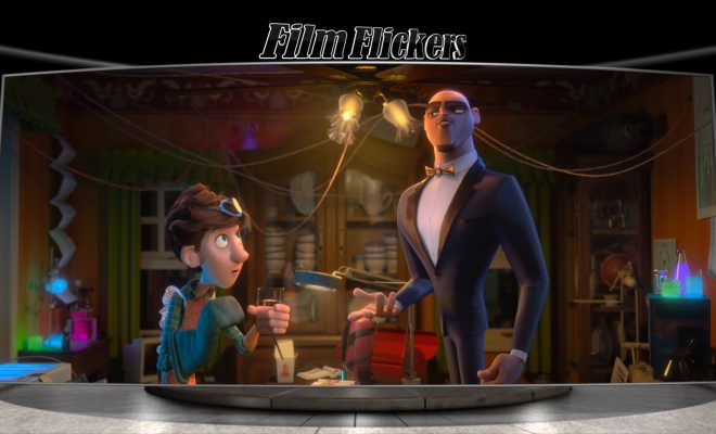 Image of two animated characters in a home, one on the left is in lab gear, and one on right is in tux