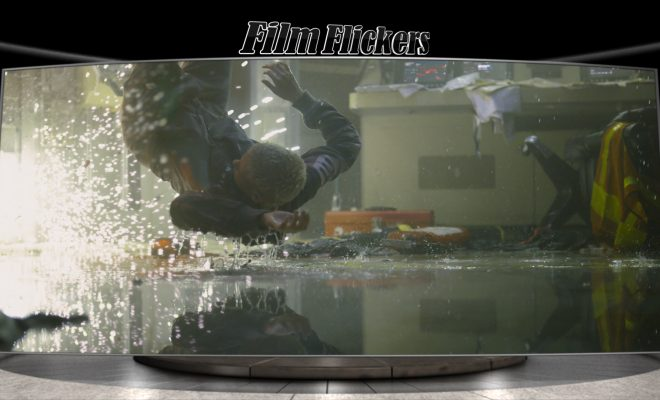 "Image of woman flying through the air after an explosion from ""Underwater"" film"