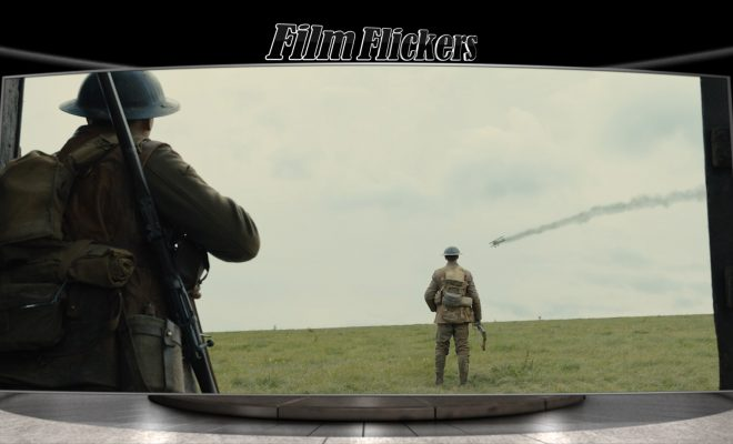 "image of two soldiers looking up at the sky of a plane falling from ""1917"" film"
