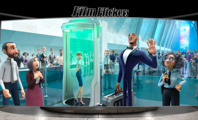 "Image of animation characters from ""Spies In Disguise"" movie inside a secret facility"