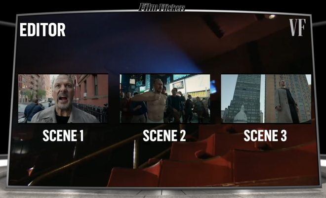 "Image of a graphic of three separate shots of Michael Keaton in ""Birdman"", each labeled ""Scene 1"", ""Scene 2"", and ""Scene 3"" respectively."