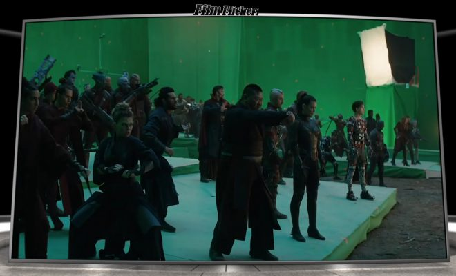 "Image of a large green screen production room with a lot of actors for ""Avengers: Endgame"" fight scene"