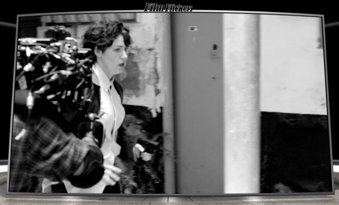 Image of behind the scenes photo of Blake Lively running in a chase scene in Black and White