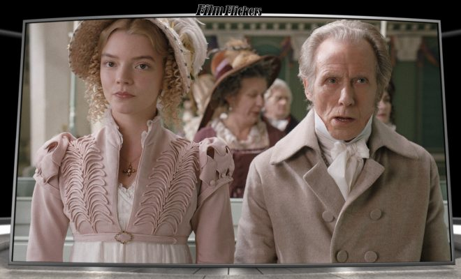 Anya Taylor-Joy and Bill Nighy sitting in a church together