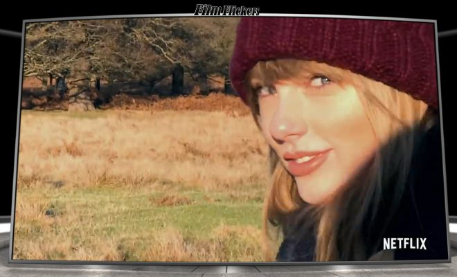 Taylor Swift in a field with woods in the background staring at the camera