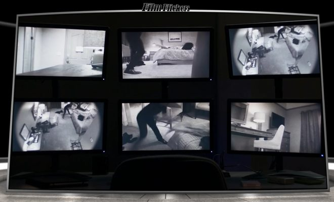 Security camera footage on 6 different monitors on 6 different angles of a murder happening